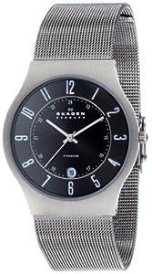 Reloj de caballero Skagen Slimline 233XLTTM de cuarzo, correa de acero inoxidable color gris de Skagen