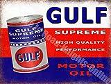 Gulf Suprême Huile De Moteur Peut De course Garage Vintage Métal/Panneau Mural Métalique - 30 x 40 cm