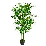 Leaf Design-Árboles Artificiales de bambú, tamaño XL, Realista, Hoja de Grasa de 120 cm, Large
