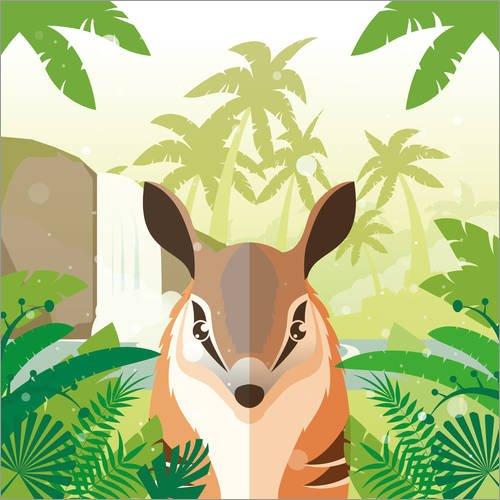 Posterlounge Holzbild 120 x 120 cm: Duschungeltier von Kidz Collection/Editors Choice