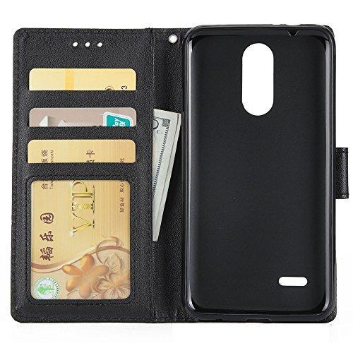 Klassische Premiu PU Ledertasche, Horizontale Flip Stand Case Cover mit Cash & Card Slots & Lanyard & Soft TPU Interio Rückseite für LG K10 2017 ( Color : Red ) Black