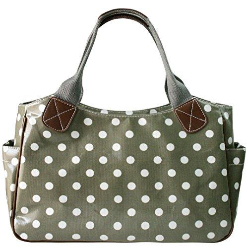 Miss Lulu Damen Gepunktet Wachstuch Shopper Schultertasche Umhängetasche Tupfendruck Tasche Gepunktet Grau