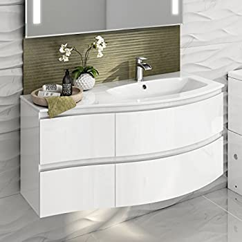 1040 mm White Vanity Sink Unit Ceramic Basin Wall Hung Bathroom Furniture