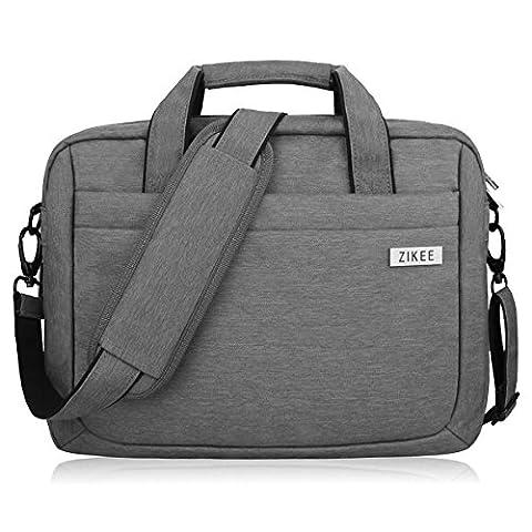Zikee 15-16 Zoll wasserfeste und 360° stoßfeste Messenger-Bag als Schutz für Ihren Laptop/Notebook mit Handgriff und Schultergurt für Schule, Studium, Reisen und im Büro und für geschäftliche Nutzung (Grau)