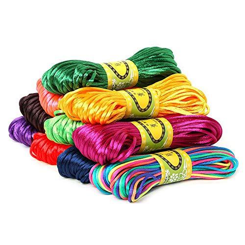 Swecomze 10 cordoncini in seta satinata [Ø 2,5 mm x 20 m] per collane, bracciali, fili di perle, fai da te, creazione di gioielli