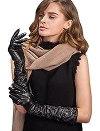 YISEVEN Guantes de guantes largos italiano de napa de piel de cordero/ pantalla táctil