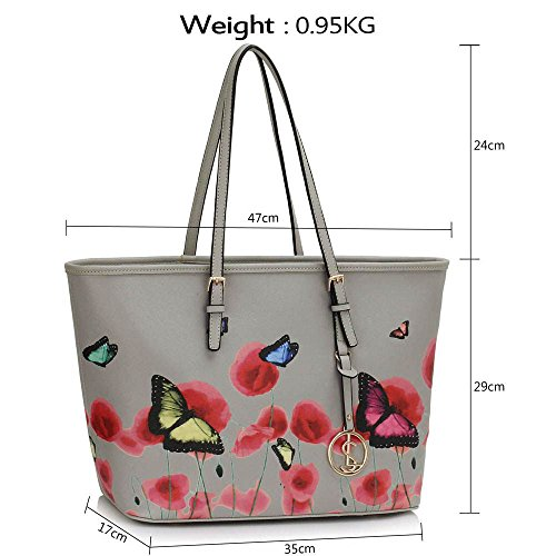 Trend Star woman designer handbag ladies fashion patent tote bag (D - Black / White) G - Gris