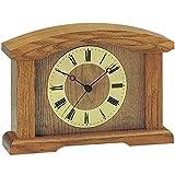 Tischuhr - AMS Kaminuhr Funk Holz Eiche massiv mit Glas Funktischuhr