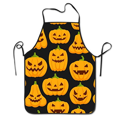 Kostüm Kann Bier Hunde - HTETRERW Aprons for Women - Waterproof and Easy Clean Kitchen Cooking Apron Pumpkin Patterns Waist Bib, Durable Polyester with Suitable Side/Neck Ties, Convenient and Soft Bib Aprons