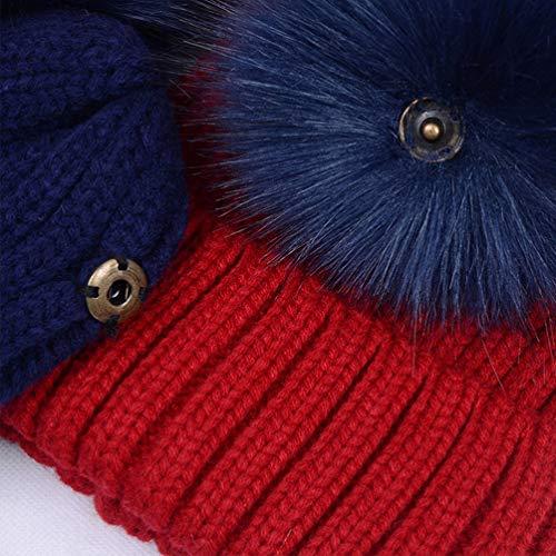 Lau s Berretti invernali ragazza cappello doppio pon pon di pelliccia  rimovibile c430bbb24ee6