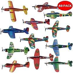 THE TWIDDLERS 48 Aviones planeadores de Papel - Niños Aeroplanos voladores en 12 Diseños Distintos - Perfectos para Detalles de Fiesta, Rellenos de Bolsas de Fiesta, premios de Clase, Regalos, etc.