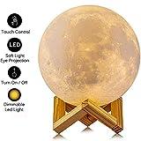 AGM Mond Lampe, Dimmbar LED Mond Nachtlicht Stimmungslicht 15cm 3D Druck Nachtlampe mit Holzhalterung und Berührungssteuerung für Kinderzimmer Schlafzimmer Cafe Bar Esszimmer(5,9 Inch)