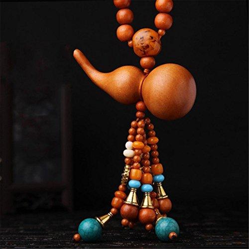 l Anhänger Braun Nussbaum Kunsthandwerk Hängend Dekoration Zum Fahrzeug LKW Zuhause Büro, Kürbis Carving Mit Gebet Perlen Buddhismus Segen Safty (Kürbis-gebet)