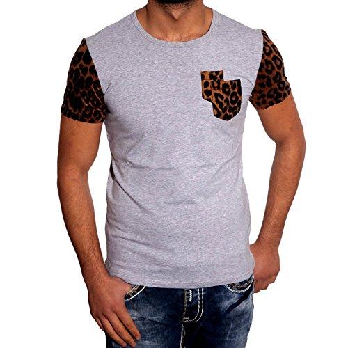 Baxboy Herren Kurzarm Luxus Leopard Muster Japan Style T-Shirts JP-1021 Neu Hemd, Farbe:Grau, Größe:M