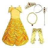 Freebily Kinder Mädchen Belle Kostüm Prinzessin Kleid Halloween Kostüm Set aus Schulter mit Handschuhen Tiara Zauberstab Halskette für Themenparty Karneval Fasching 5pcs in Gelb 98-104/3-4 Jahre