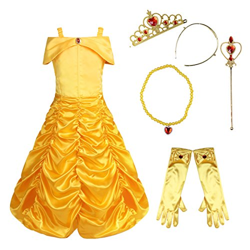dPois Mädchen 4Pcs/5Pcs Prinzessin Kleid Belle Kostüm Märchen Kostüm Kleinkind Festlich Outfit Set Zubehör Karneval Fasching Kostüm Gr.86-140 mit 1Pc Halskette 134-140/8-10 Jahre (Mädchen Märchen Kostüm)