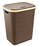 Home In Style 56L Plastic Rattan Laundry Basket Clothes Hamper Linen Storage Lidded Bin Box Laundry Supplies Holder Tidy (Brown/Coffee)