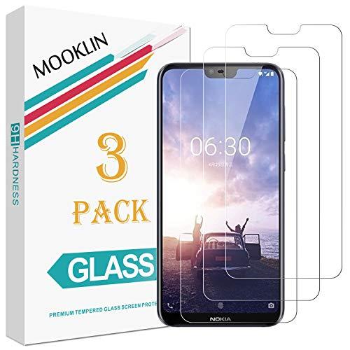 MOOKLIN Panzerglas Displayschutzfolie für Nokia X6, 9H Härte, Anti-Kratzen, Anti-Bläsche, [3 Stück]