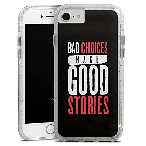 Apple iPhone 7 Bumper Hülle Bumper Case Glitzer Hülle Sayings Phrases Sprüche Bumper Case Glitzer gold