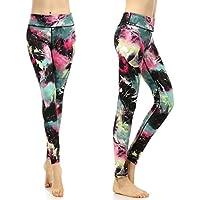 SOUTEAM Leggings d'entraînement pour femmes Pantalons de yoga à haute taille, Motif Aquarelle