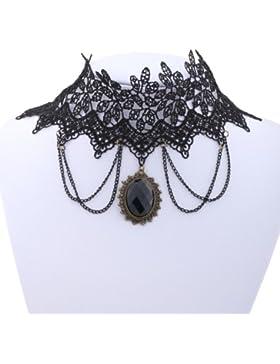 Yazilind SchmuckhalsbandHalskette Lolita Black Lace Stein -Tropfen -Halskette Kette Handmade Vintage- Gothic