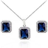 Crystalline Azuria - Set di gioielli da donna, set di gioielli per matrimonio con collana e orecchini per sposa - Cubic…