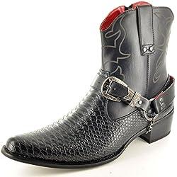 Botas para hombre, con cremallera, hasta el tobillo, de piel de serpiente, estilo vaquero, color Negro, talla 43,5