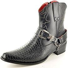 Para hombre de piel de serpiente con cremallera completa para Western botas de diseño vaquero de tobilleras con peso