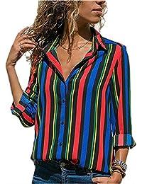 1c55cda160719 Camisas Mujer Blusa con Botones Camisetas Manga Larga Sexy Tops Rayas  Cuello en V Low Cut