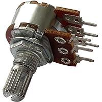 AERZETIX: 5 x Potenciómetro rotativo estéreo logaritmico 10k? 63mW PCB eje moleteada 6mm 9mm