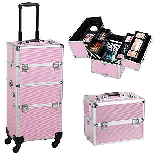 Yaheetech Valigia Grande Trolley da Trucco Make Up per Estetista Professionale da Viaggio Telaio in Alluminio 36 x 24 x 106,5 cm Rosa