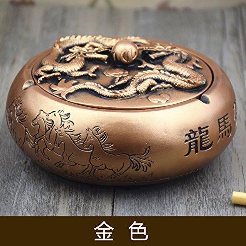 Creative Dragon MA Pentium cenicero Retro casa Grande de Fumadores de la Puerta el Cilindro de Giro Inicio en el cenicero, Oro Oro Antiguo