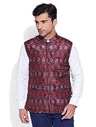 Very Me Mens Polyester Printed Nehru Jacket Size:- 44 / Xxl (Black)