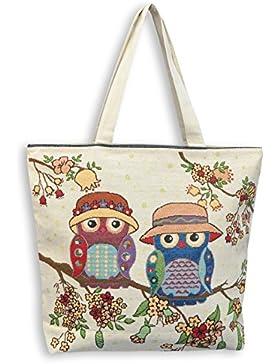 Eule Eulenmotiv Eulentasche Shopper Umhängetasche Strandtasche mit 1 Fach und Reißverschluss***EULENPÄRCHEN MIT...