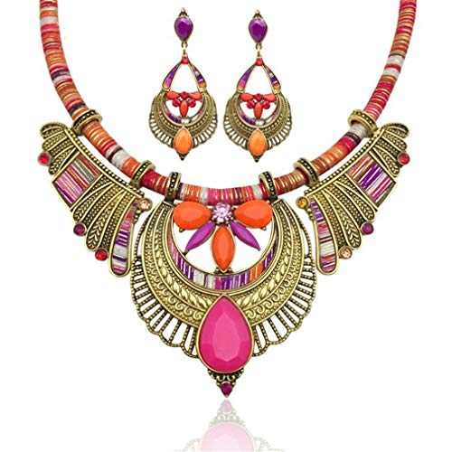 Yazilind Rainbow Colour Jewellery Stripe Trägerkette Statement Chunky Damen Halskette Ohrringe Schmuck Set # 3