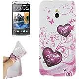 Rocina TPU Case Schutzhülle für HTC One Mini M4 Herzen pink/weiß