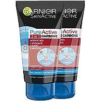 Garnier Maschera Punti Neri, Detergente e Scrub Viso Pure Active Intense 3 in 1 con Carbone Vegetale, 150 ml, Pacco da 2 Pezzi