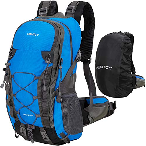 VENTCY 40L Wanderrucksack Damen Herren Unisex Wasserdicht Rucksack Trekkingrucksack Daypack Reiserucksack Outdoorrucksack Trekking Camping (40L Blau) - Air-mesh Rucksack