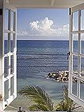 Artland Qualitätsbilder I Bild auf Leinwand Leinwandbilder Wandbilder 60 x 80 cm Landschaften Fensterblick Foto Blau A6LA Fenster zum Paradies