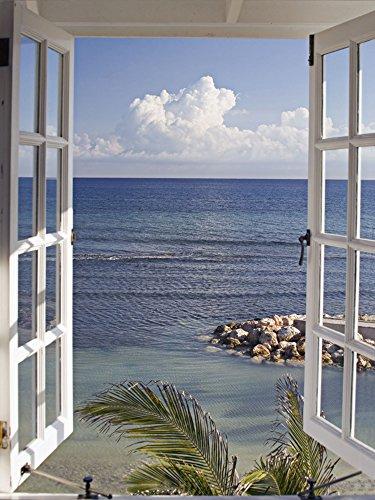fenster 30x30 Artland Qualitätsbilder I Wandtattoo Wandsticker Wandaufkleber 30 x 40 cm Landschaften Fensterblick Foto Blau A6LA Fenster Zum Paradies
