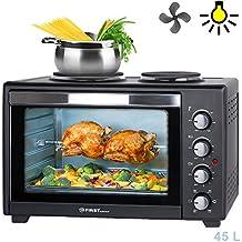 Mini horno eléctrico 45 l 3200 W con placas de cocción | multifunción | grill giratorio |función convección| Espetón y ventilación mini horno para pizzas | Mini cocina | cocinar y hornear a la vez