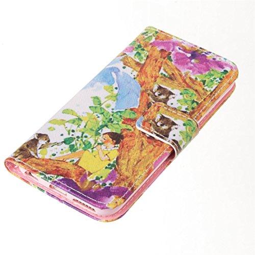 Folio Portefeuille Housse en Cuir pour Apple iPhone 5 SE - Aohro Premium PU Leather Coque de Protection Flip Wallet Étui Cover Case avec Fermeture Magnétique + Stylet + Dust Plug - Pissenlit Fille et ours