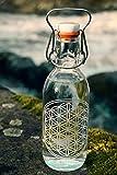 Freiglas 0,5l Trinkflasche aus Glas *Blume des Lebens* 100% plastikfrei, Nachhaltig, Handmade in Freiburg