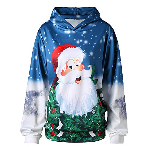 Geili Weihnachtspullover Damen Neuheit Weihnachtsmann 3D Druck mit Kapuze Sweatshirt Weihnachten Kapuzenpullover Frauen Langarm Loose Fit Bluse Hoodie Christmas Festlich Oberbekleidung -