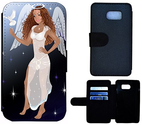 Flip Cover Schutz Hülle Handy Tasche Etui Case für (Apple iPhone 5 / 5s, 1524 Elefant Sonnenuntergang Afrika) 1527 Engel Frau Braun Weiß Cartoon