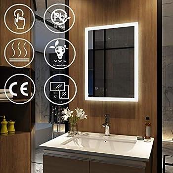 LED Badspiegel Badezimmerspiegel Lichtspiegel Kaltweiß Warmweiß //Steckdose TSL