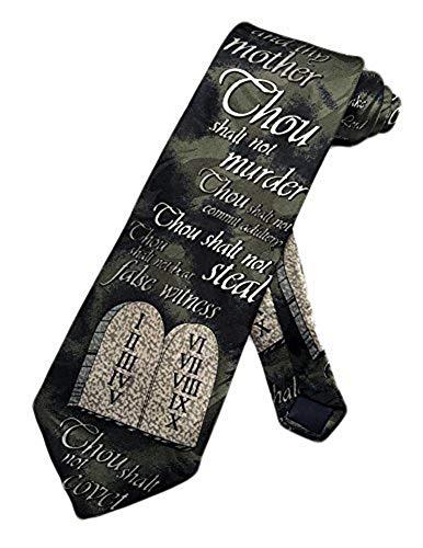 Parquet Herren Krawatte mit 10 Geboten Tablet, Bibelform, Einheitsgröße - Grün - Einheitsgröße
