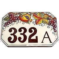 CERAMICHE D'ARTE PARRINI- Ceramica italiana artistica numero civico in ceramica 20x13 personalizzato decorazione frutta, mattonella fatta a mano made in ITALY Toscana
