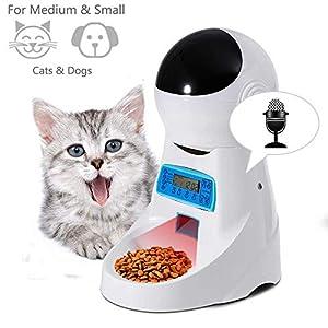 Sailnovo Distributeur Automatique de Nourriture Distributeur de Croquettes Gamelle Enregistrement 4 Repas Pour Chats et Chiens ( Moyen, petit ) (4L, Blanc)