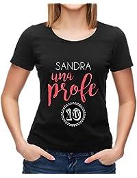 Calledelregalo Regalo Para profesoras Personalizable: Camiseta Profe 10 Personalizada con su Nombre
